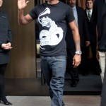 Trey Songz Spotted Out & About in Black and White hat grammy shirt new york 2011 2