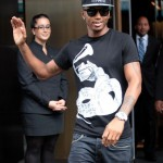 Trey Songz Spotted Out & About in Black and White hat grammy shirt new york 2011 3