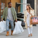 Kim Kardashian and Kanye West shop at a sport store in Los Angeles